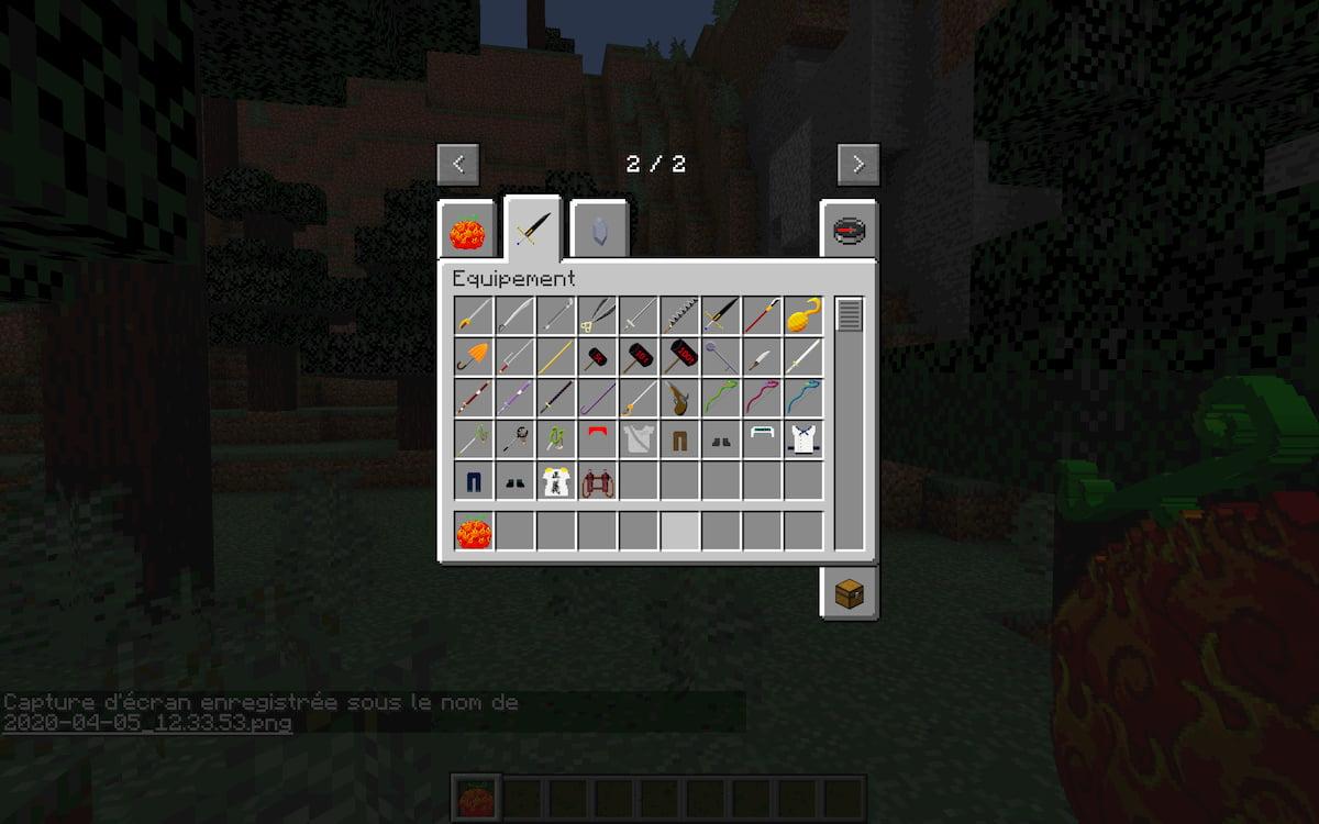 Mine Mine no Mi, mod Minecraft One Piece : les différentes armes et équipements
