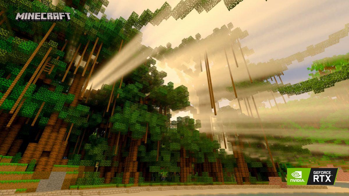 Minecraft Beta RTX : Les effets du soleil sur la forêt