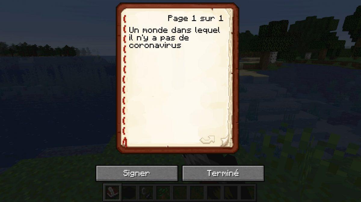 Minecraft Snapshot 20W14 infinite : il faut d'abord écrire un texte sur un livre