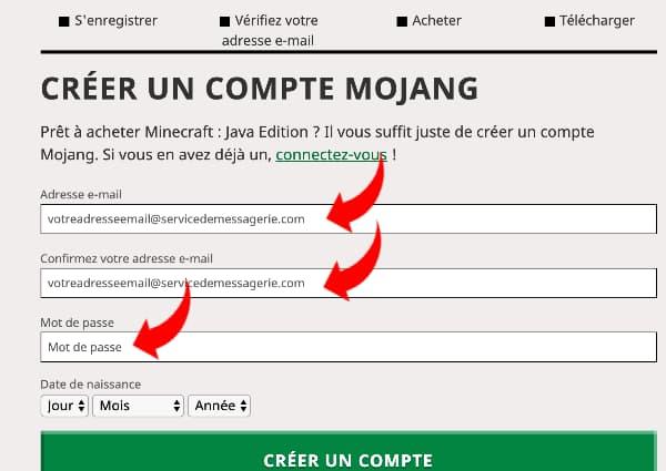 Acheter minecraft prix : créer un compte mojang