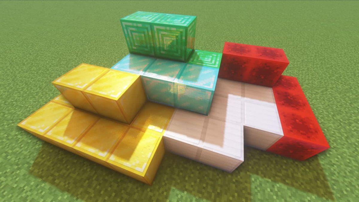 Vanilla PBR - Pack de Textures Minecraft : des blocs d'or, de fer, de redstone, de diamant et d'émeraude