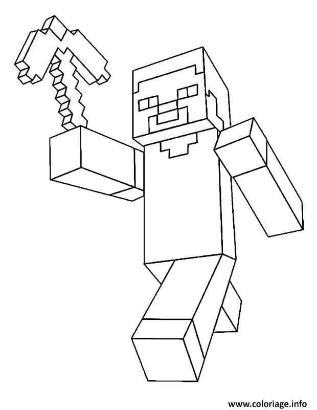 Coloriage Minecraft de Steve