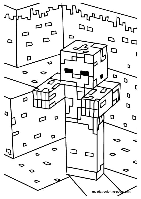 Coloriage de Zombie Minecraft
