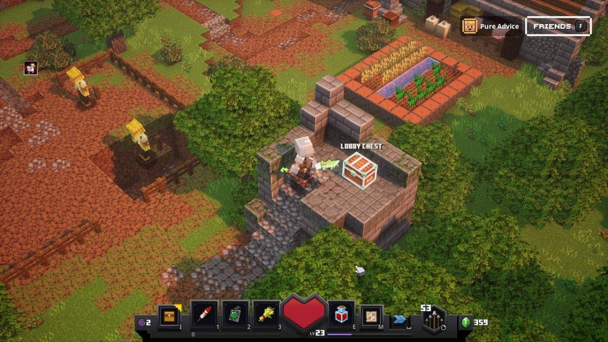 coffre caché dans le lobby de Minecraft dungeons