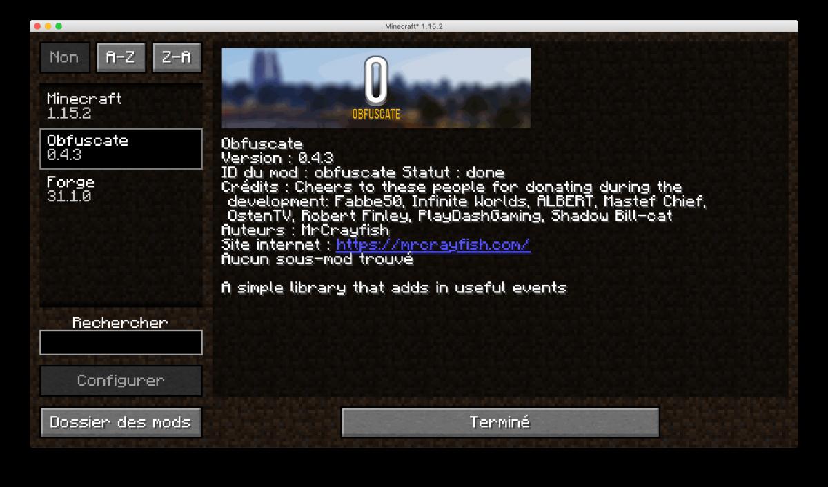 obfuscate mod dans minecraft