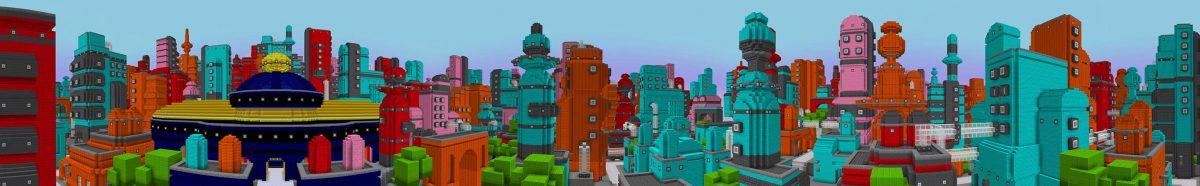 pac-man dans minecraft : vue panorama de la ville