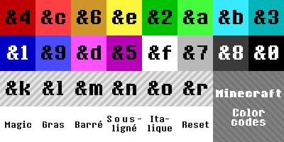 tableau code couleur minecraft