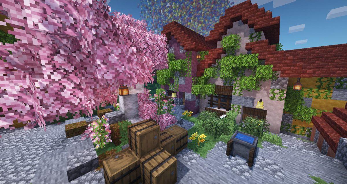 Better Vanilla Building : un arbre avec des feuilles roses