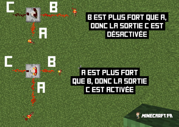 exemple comparateur redstone minecraft en mode comparaison