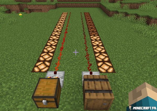 Comparateurs redstone utilisés pour mesurer les conteneurs