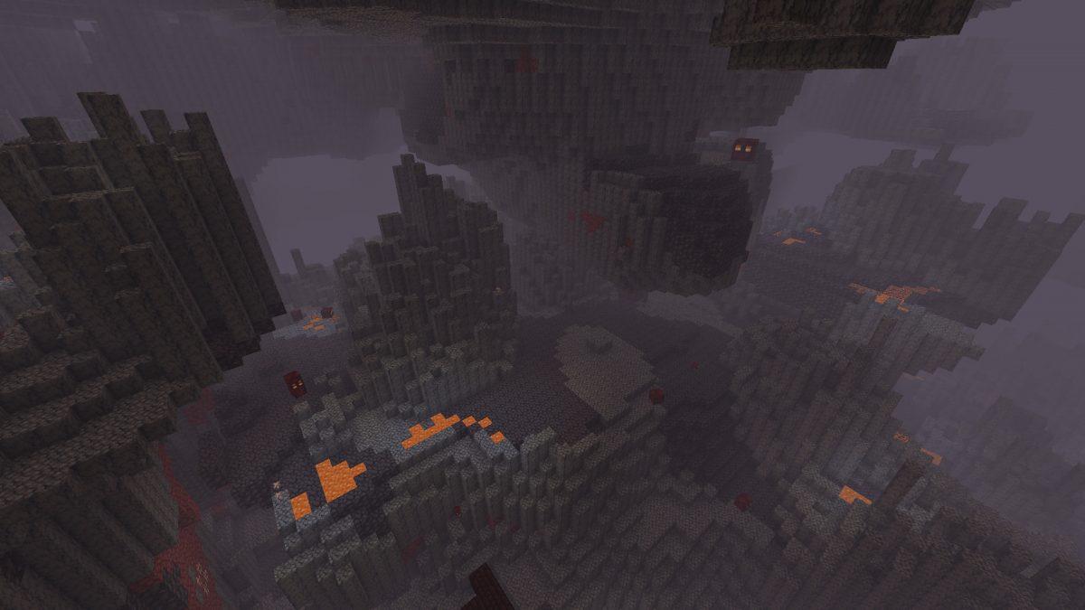 Biome de deltas de basalt dans Minecraft 1.16 avec un vube de magma en fond