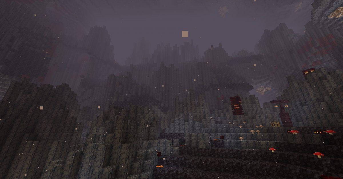 Biome de deltas de basalt dans Minecraft 1.16 vue du bas