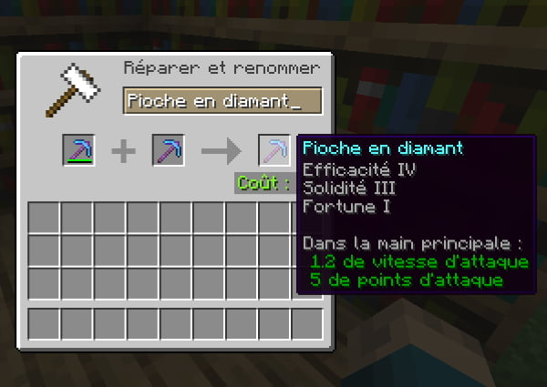 combiner enchantement minecraft enclume