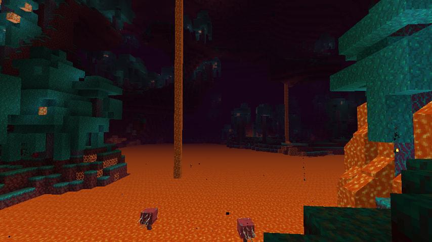 Forêt biscornue biome de Minecraft 1.16 avec de la lave et des arpenteurs