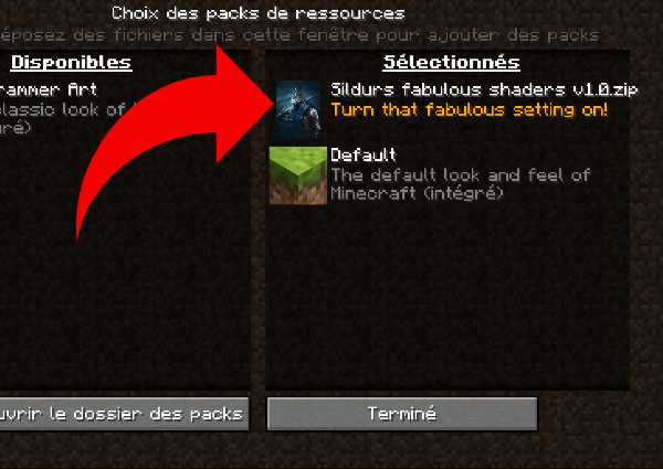 Installer shader minecraft sans optifine packs de ressources