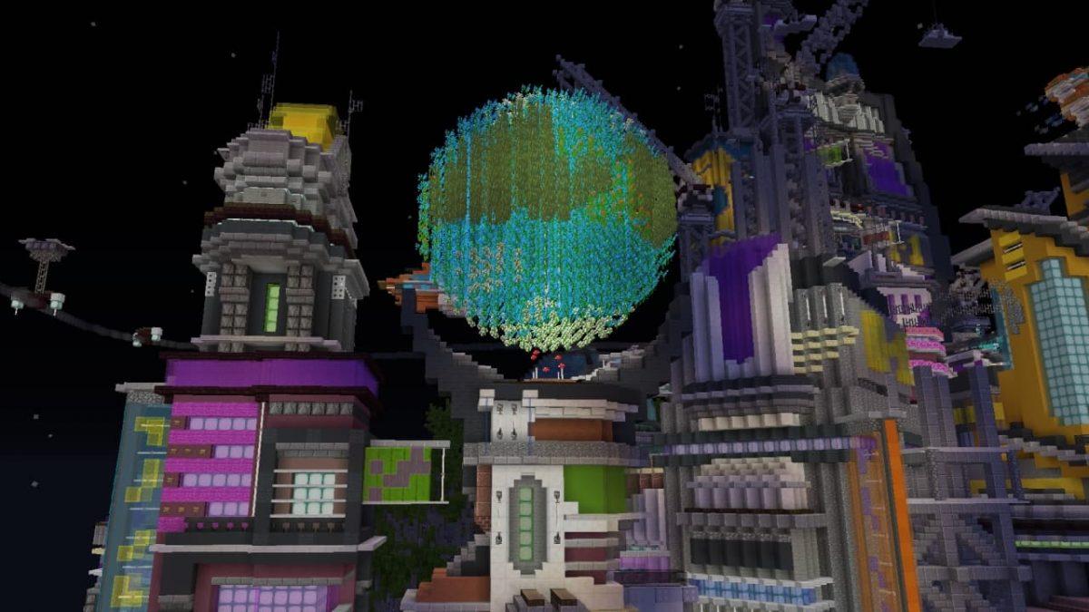 Une vue du globe terrestre présent sur la map Hive City.