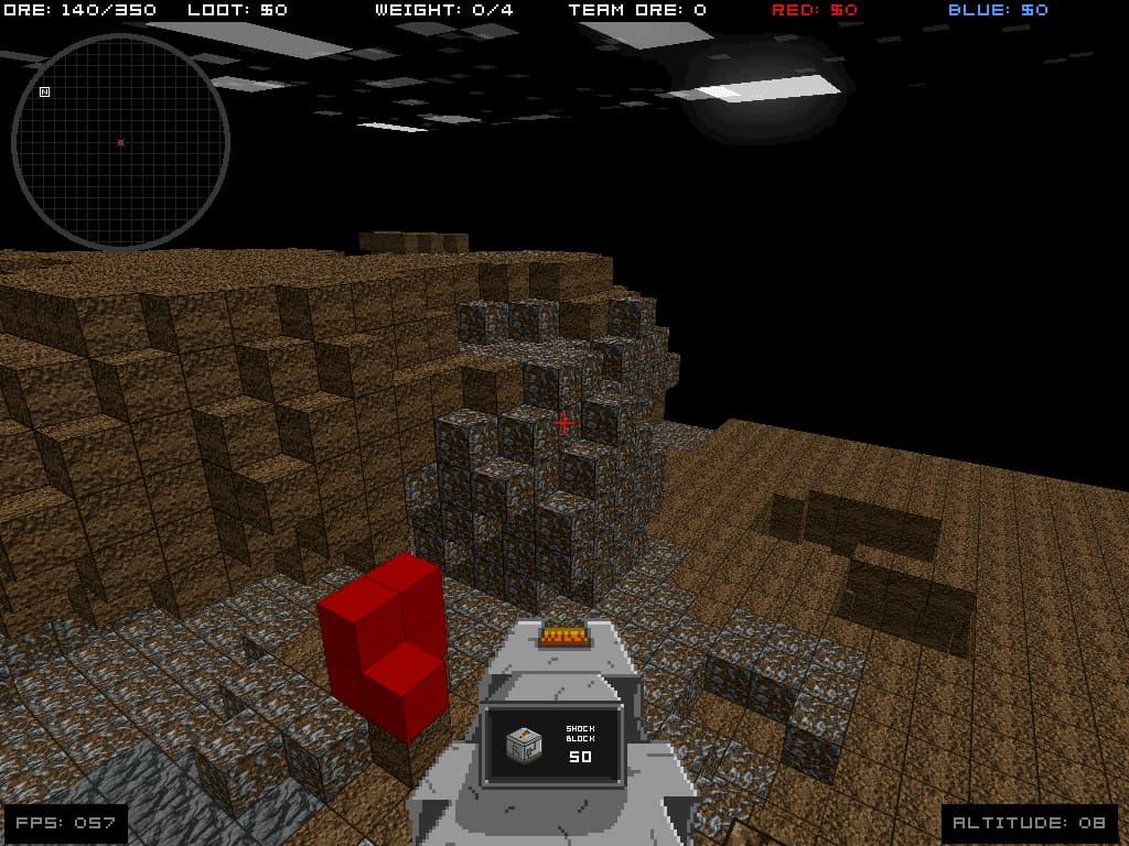 Capture d'écran d'une map d'Infiniminer.