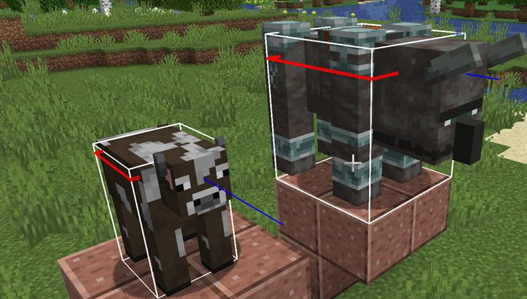 Les hitboxes dans Minecraft.