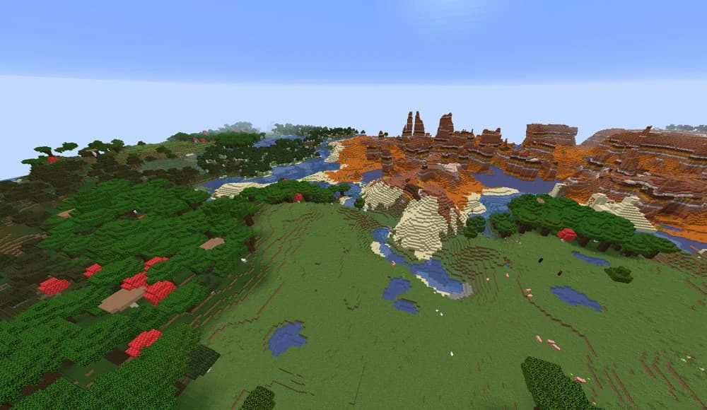 seed minecraft 1.16 multiples biomes et mesa