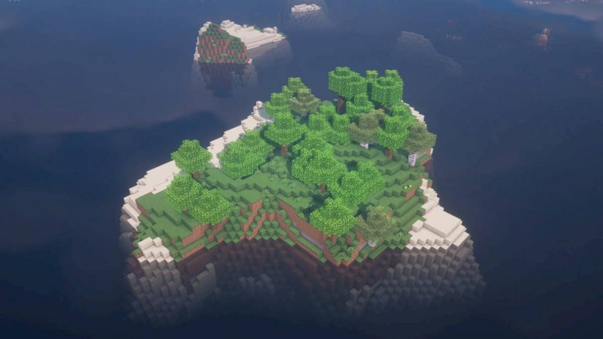 seed minecraft 1.16 ile avec arbres