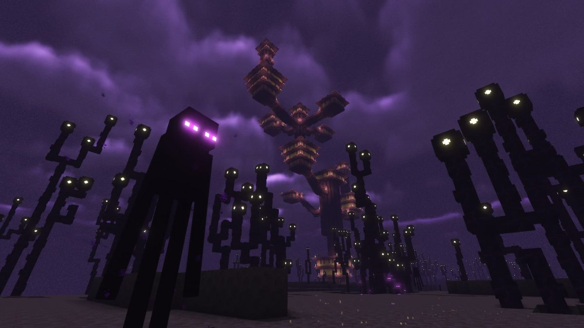 Un Enderman dans la dimension de l'End