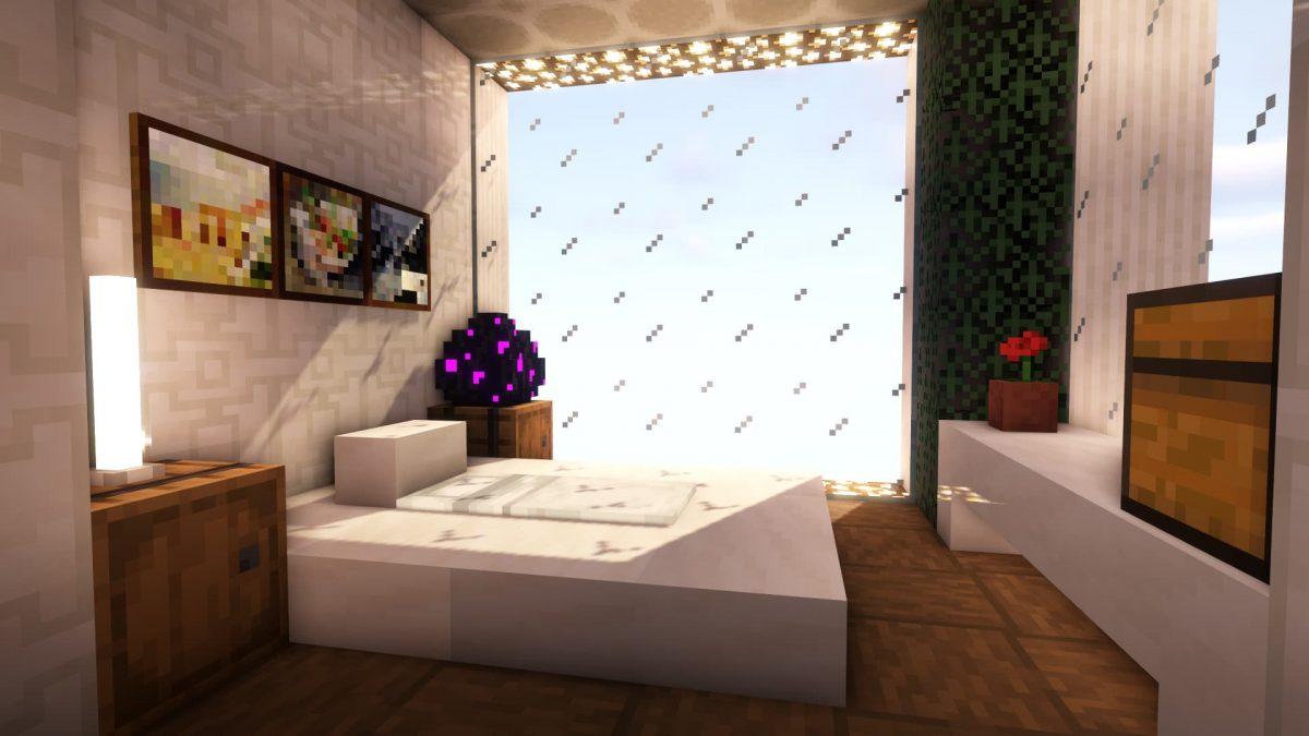 Le soleil se levant sur une chambre avec un lit