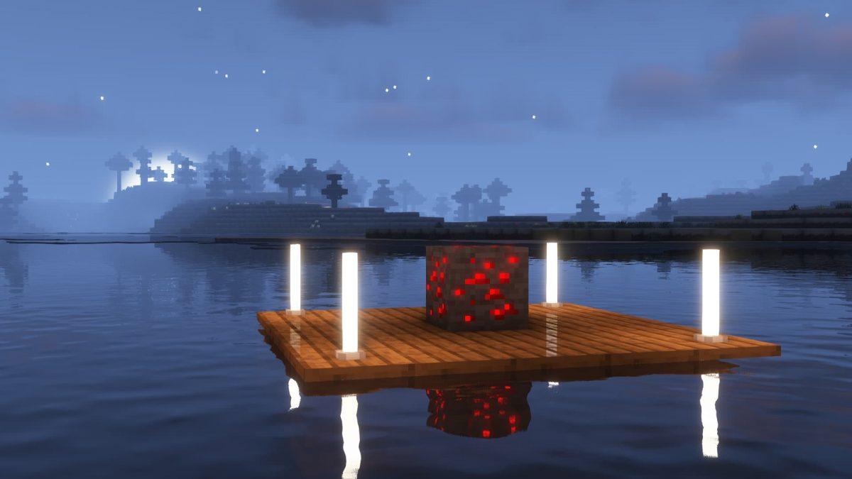 Un bloc de redstone au milieu d'un lac