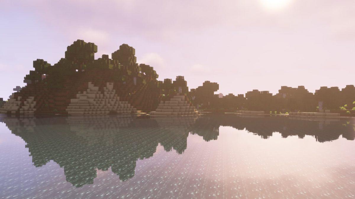 Effet du soleil sur un lac