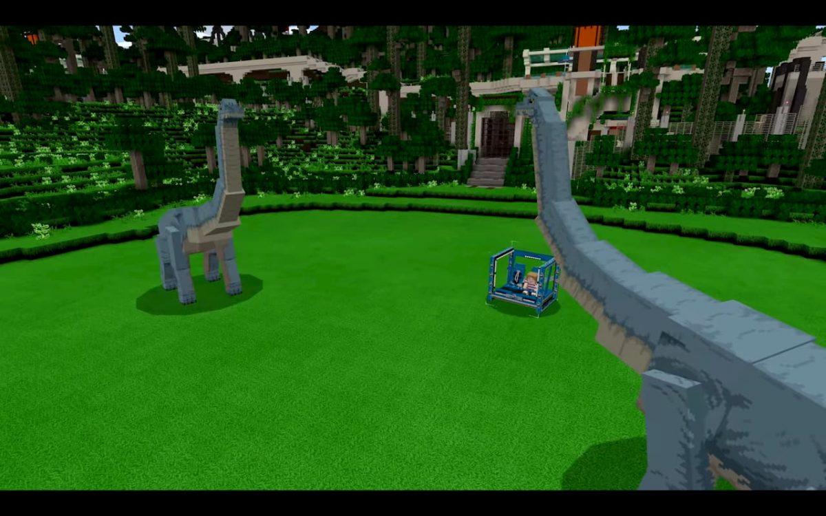 DLC Minecraft Jurassic World : la véhicule gyrosphère est présent même si on peut plutôt l'appeler cubosphère dans Minecraft.