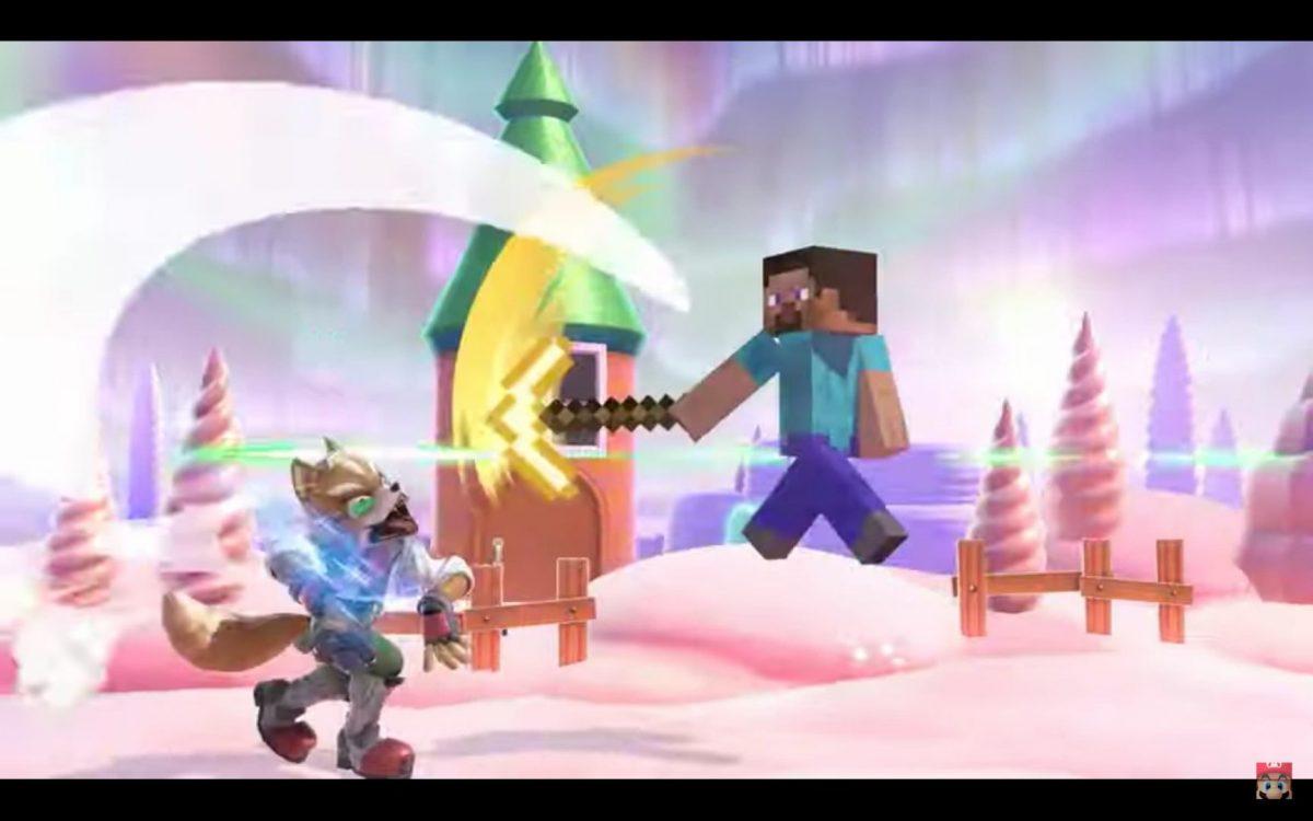 Steve attaquant Fox avec sa pioche en or
