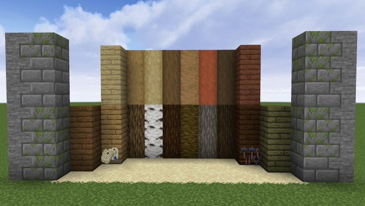 Les textures du bois et de la pierre du pack de texture BwW