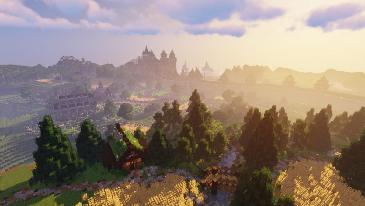 BwW Texturepack : un paysage avec un château en fond