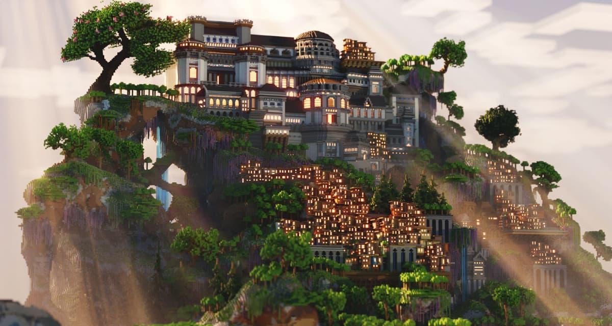 Un manoir impressionnant surplombant un bidonville – Map Minecraft