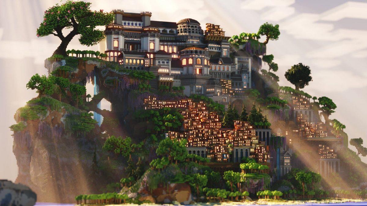 Une vue d'ensemble du manoir et du bidonville.