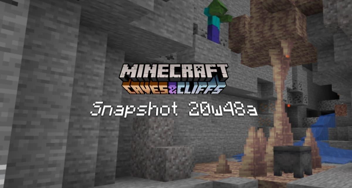 Snapshot 20w48a – Minecraft 1.17 : testez les stalactites et stalagmites
