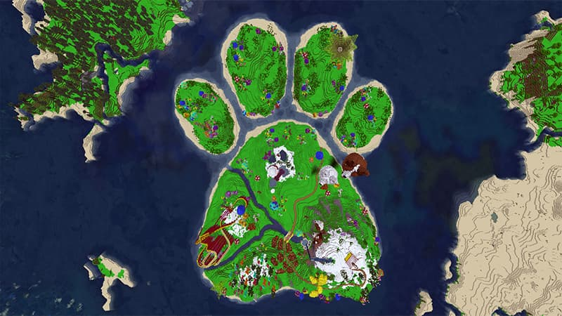 Map minecraft bedrock Dogtopia patte chien