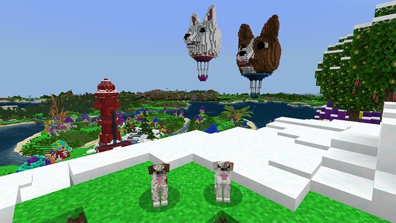 Map minecraft bedrock Dogtopia deux chiens