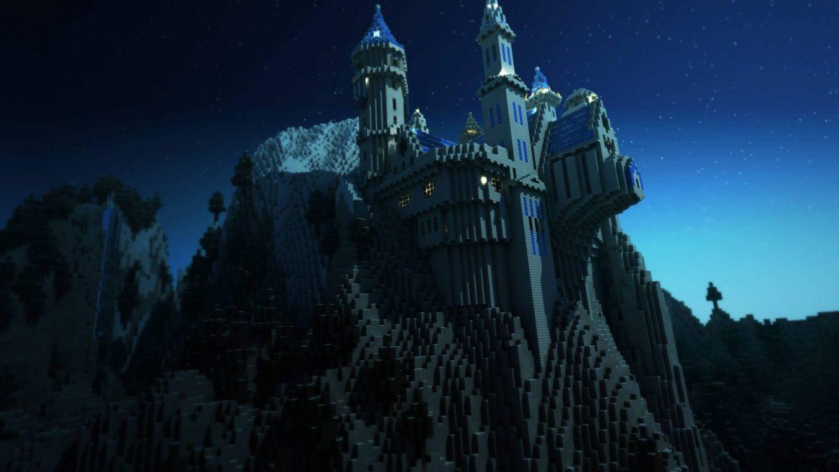 Fond d'écran Minecraft : Un chateau dans la nuit