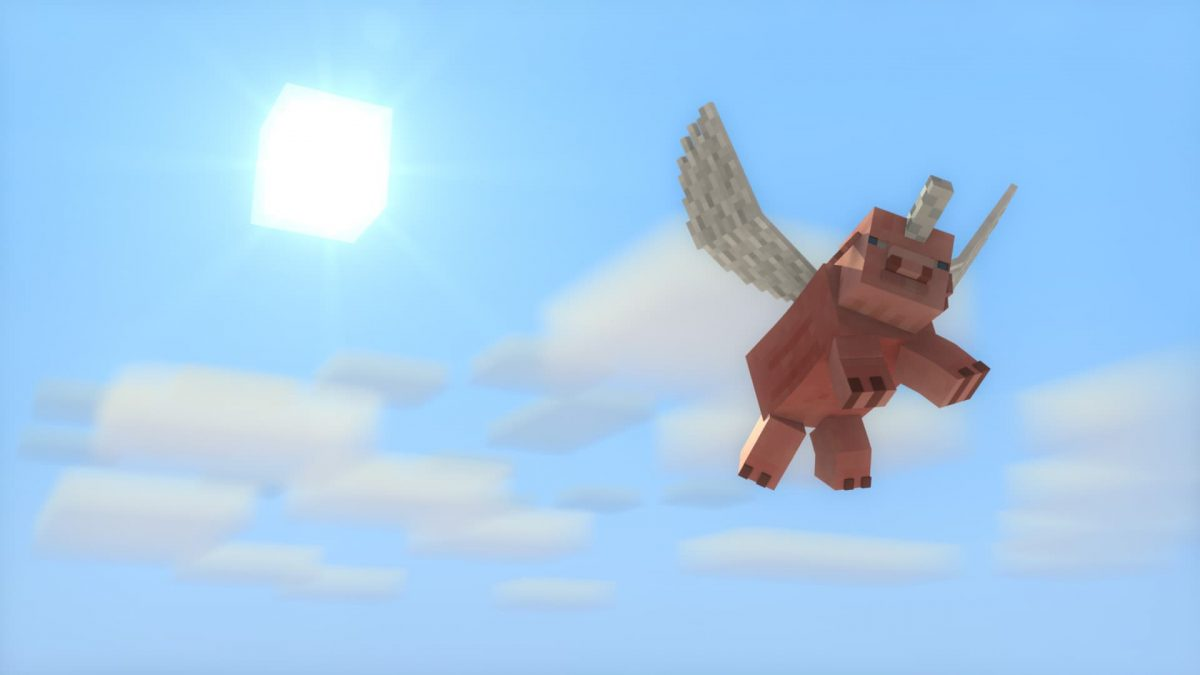 Fond d'écran Minecraft : un cochon licorne volant