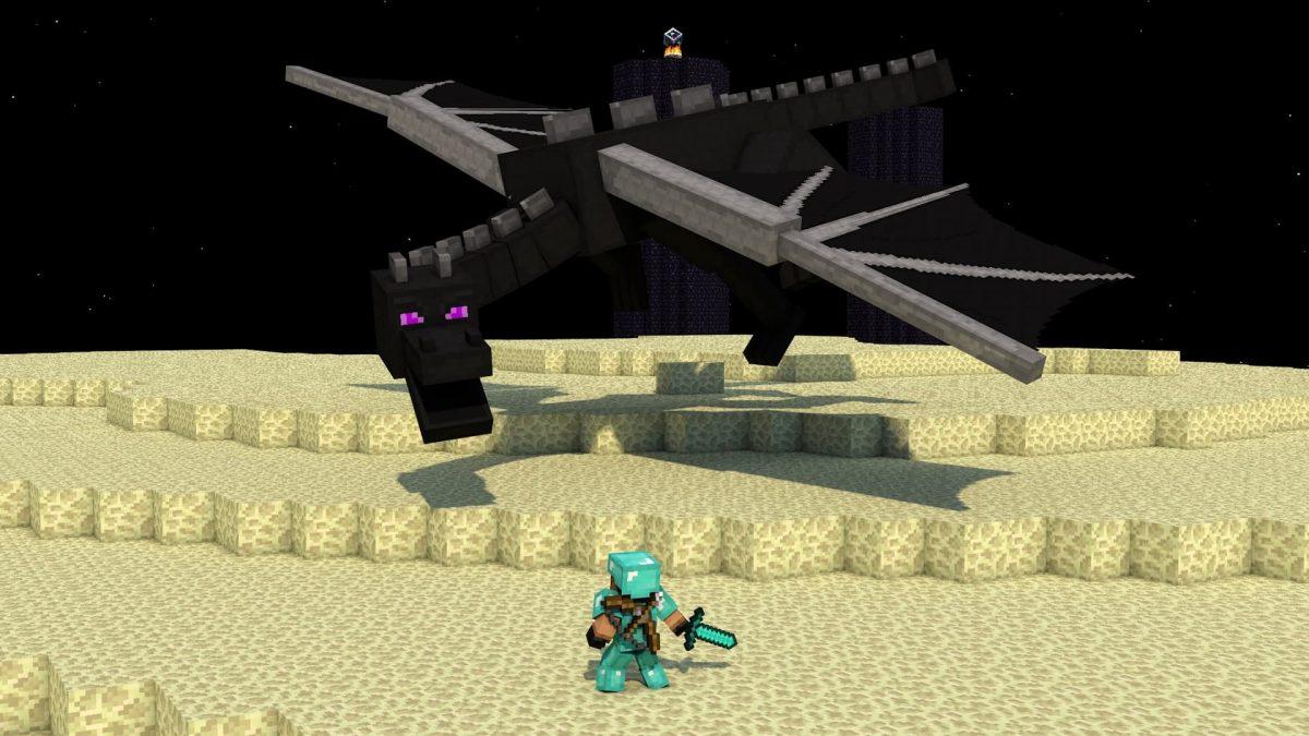 Fond d'écran Minecraft : combat contre l'Ender Dragon