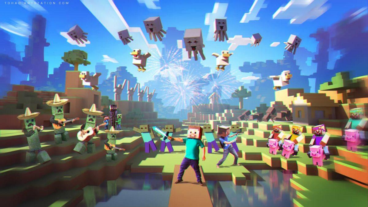 Fond d'écran Minecraft : combat réaliste