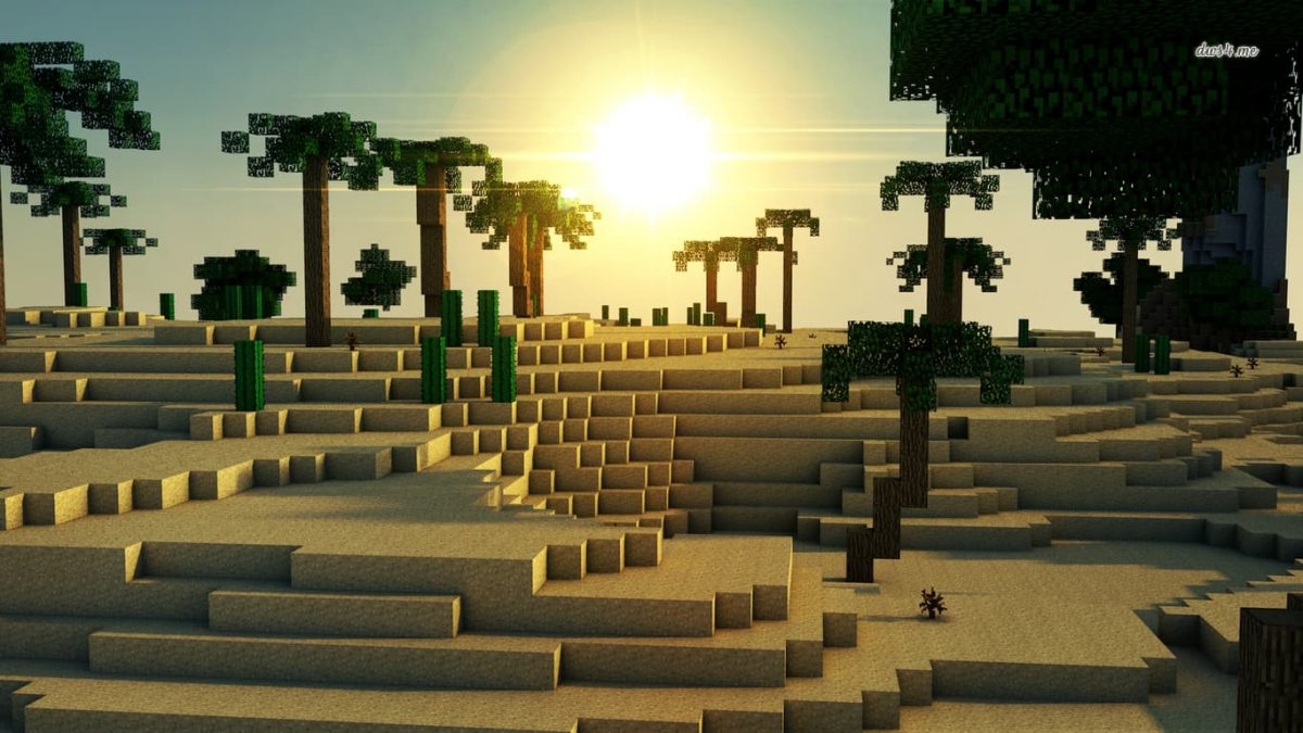 Fond d'écran Minecraft : Un désert et des palmiers
