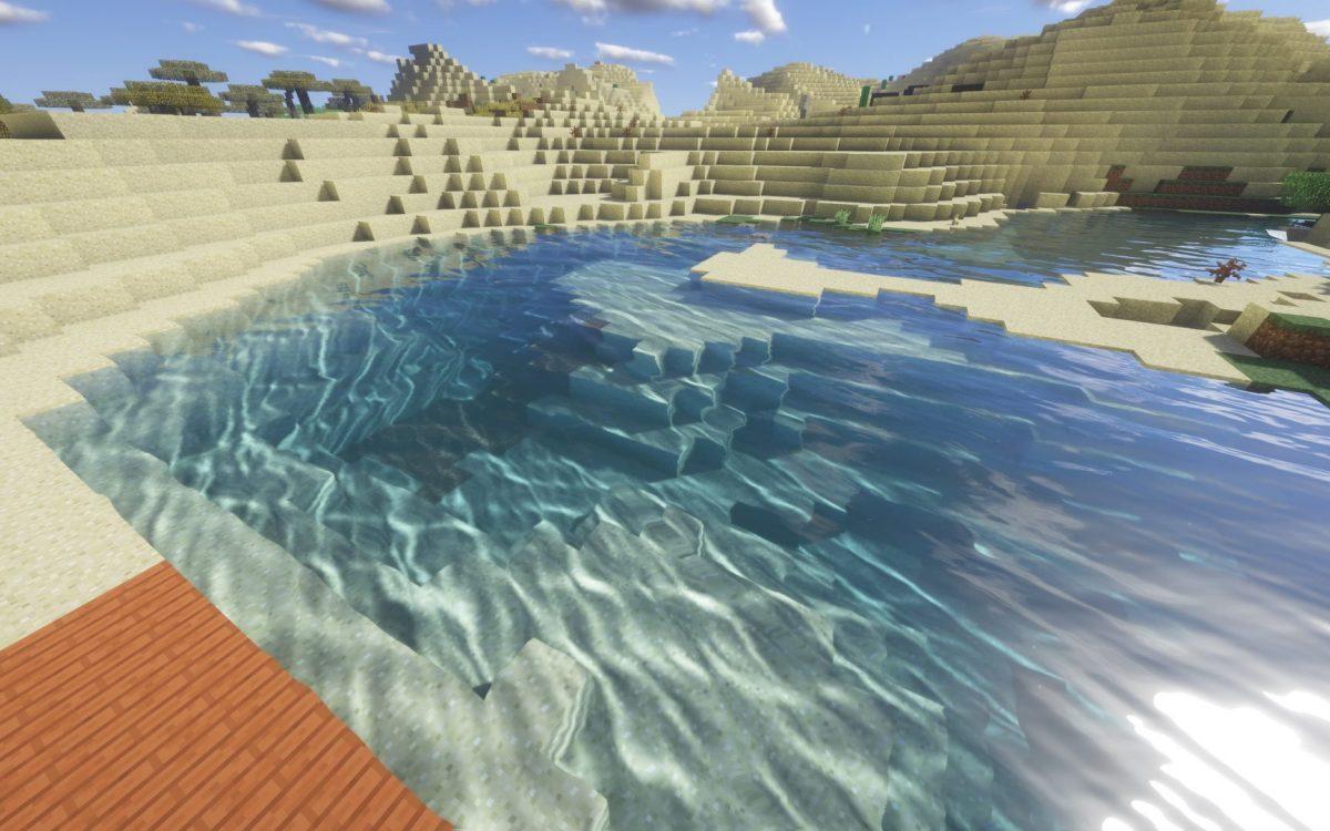 Fond d'écran Minecraft : de l'eau dans un désert