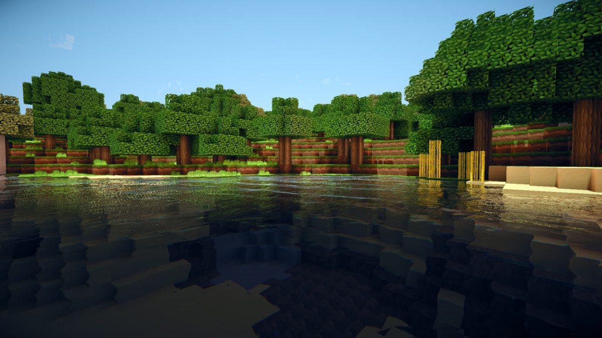 Fond d'écran Minecraft : un lac devant une forêt