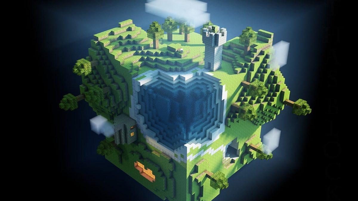 Fond d'écran Minecraft : une ile volante
