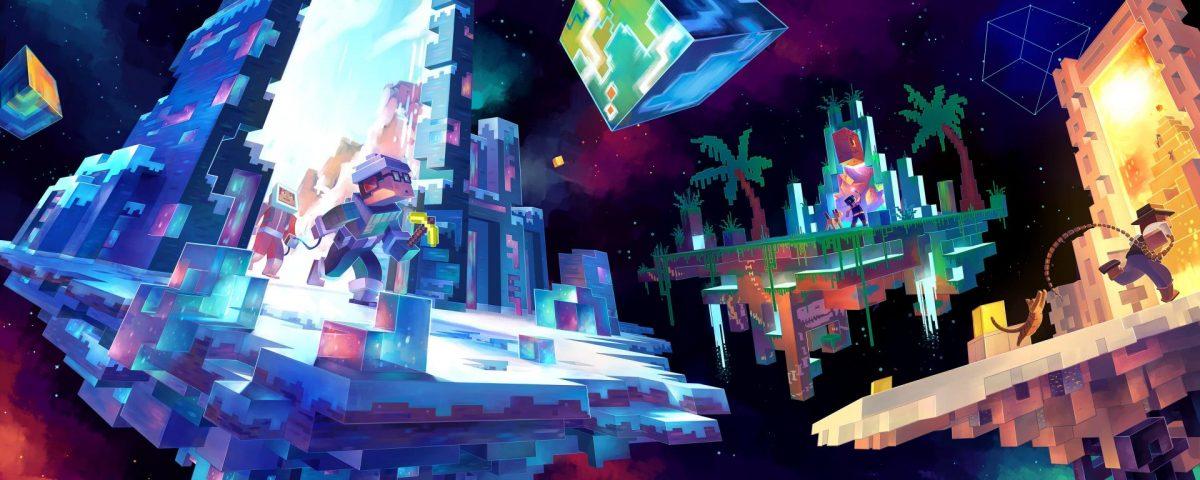 Fond d'écran Minecraft : ile volante et glace