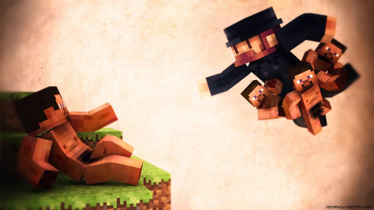 Fond d'écran Minecraft : Notch en dieu