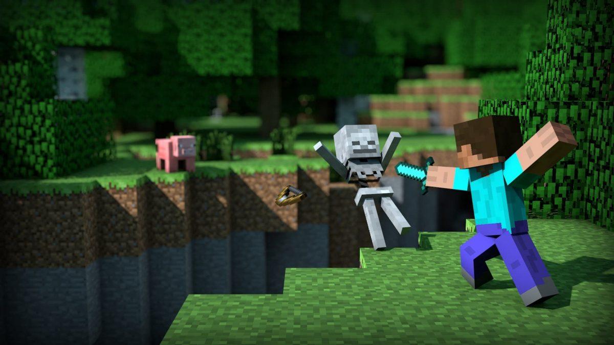 Fond d'écran Minecraft : Steve combat contre squelette