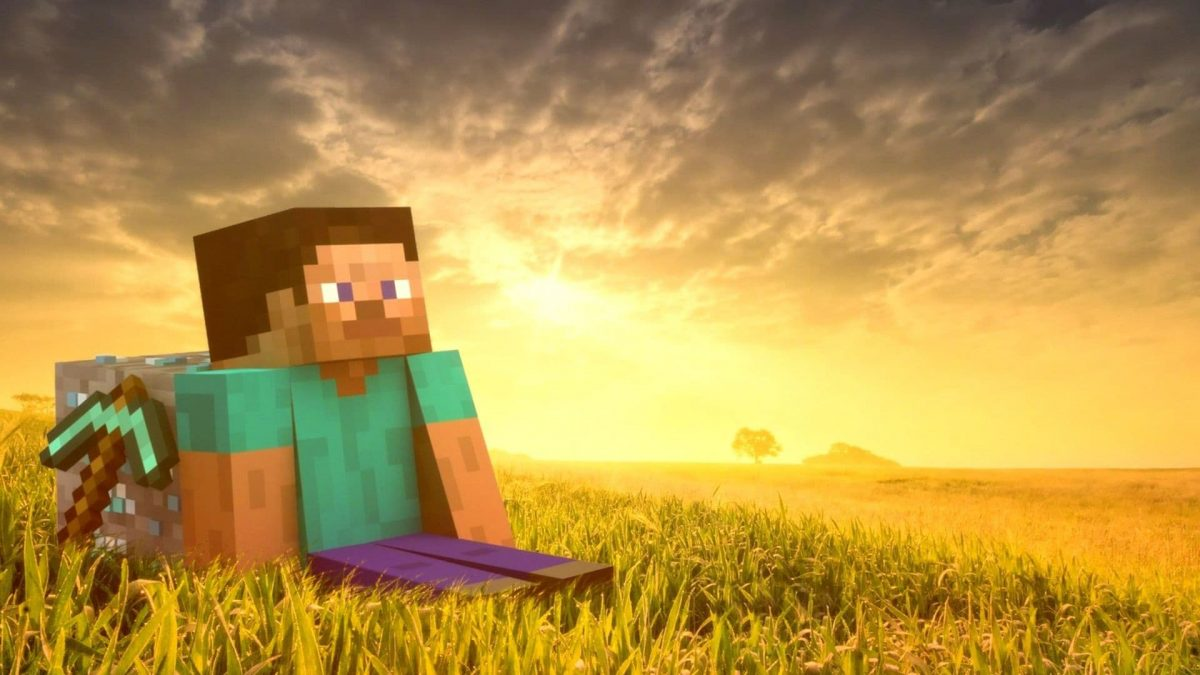 Fond d'écran Minecraft : Steve dans une champs