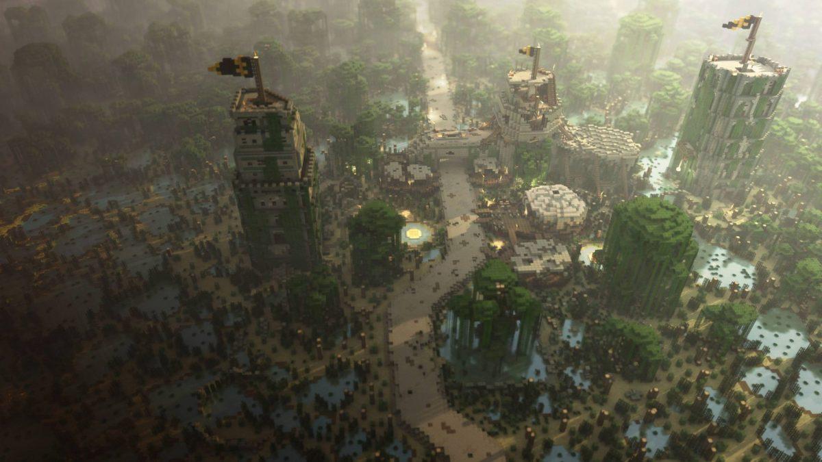 Fond d'écran Minecraft : Une ville avec des drapeaux